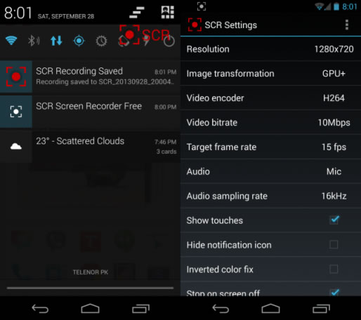 SCR Screen Recorder screencast скринкаст android настройки gudapp